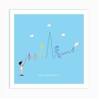 San Francisco Skyline Kite Art Print