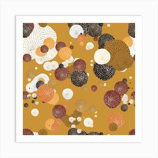 Oriental Circle Textures Mustard 2 Square Art Print