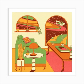 At Home In Space Respite Square Art Print
