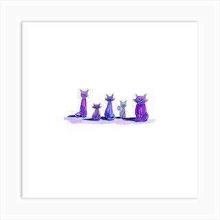 Purple Cats Art Print