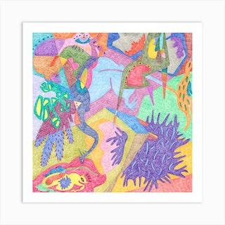It'S Raining Frogs Square Art Print