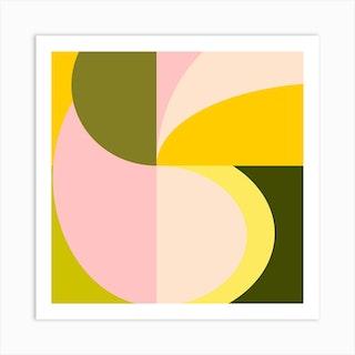 Shapes In Citrus Square Art Print
