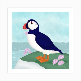 Cute Puffin By The Sea Square Art Print