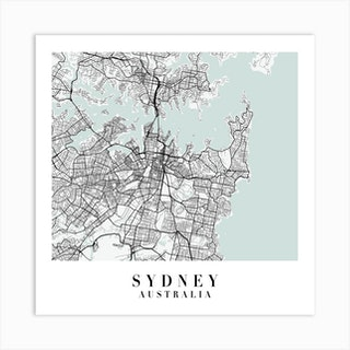 Sydney Australia Street Map Minimal Color Square Art Print