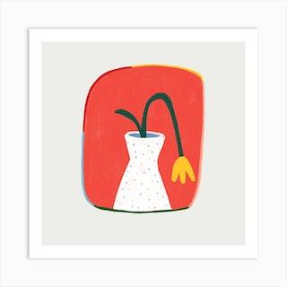Yellow Tulip Square Art Print