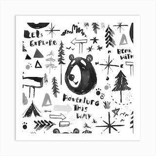 Bear Adventure Square Art Print
