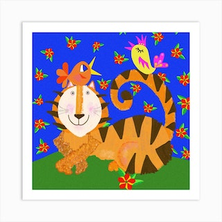Tiger And Friends Square Art Print