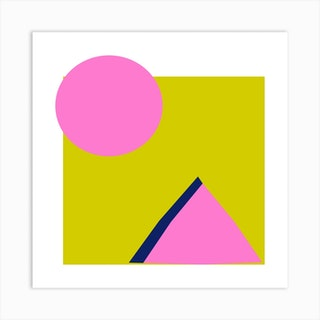 Lime And Pink Square Art Print