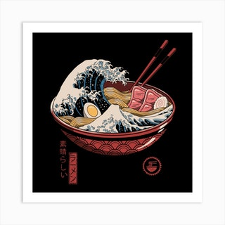 Great Ramen Wave Square Art Print