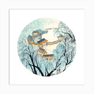 Chinese Village 2 Square Art Print