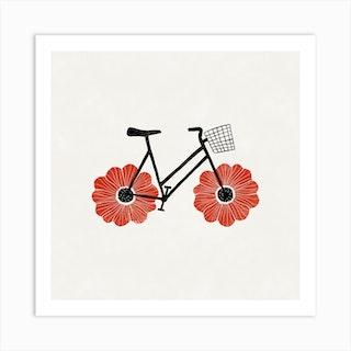 Anemone Bike Square Art Print