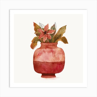 Watercolor Plant In A Pot Square Art Print