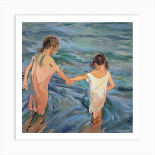 Children In The Sea, 1909 by Joaquin Sorolla y Bastida Art Print