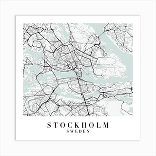 Stockholm Sweden Street Map Minimal Color Square Art Print