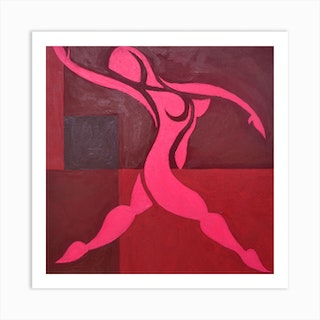 Study Of Figure In Cubic Space Pink Version Art Print