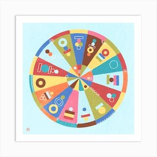 Double Fortune Wheel Mandala Art Print