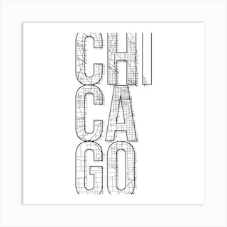 Chicago Street Map Typography Square Art Print