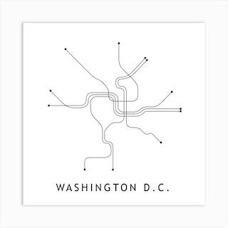 Washington Dc Subway White Map Square Art Print