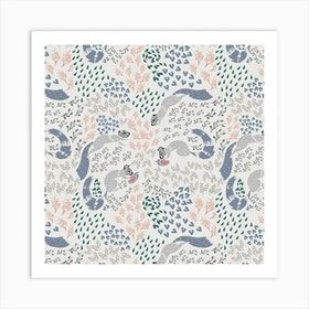 Squirrel Pattern Ii Square Art Print