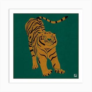 Tiger Doesnt Lose Sleep Square Art Print