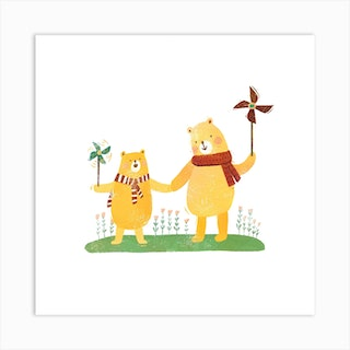 Bears With Little Windmills Square Art Print