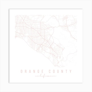 Orange County California Light Pink Minimal Street Map Square Art Print