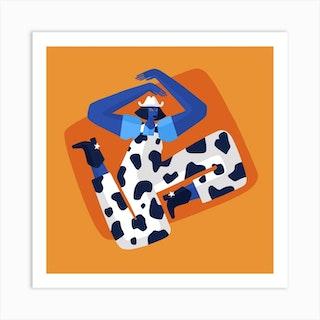 Cow Girl Square Art Print