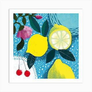 Lemon And Cherries Art Print