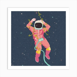 The Flying Astronaut Square Art Print