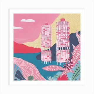 Chicago Marina Towers Square Art Print