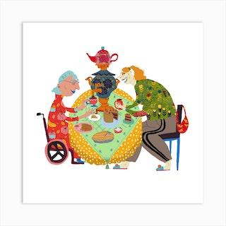 Grandmas Tea Party Square Art Print