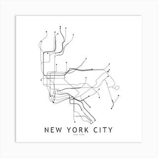 New York City Subway White Map Square Art Print
