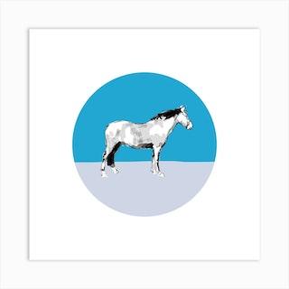 Horse On Blue Grey Square Art Print