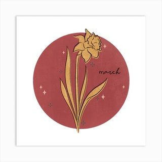 March Birth Flower Square Art Print