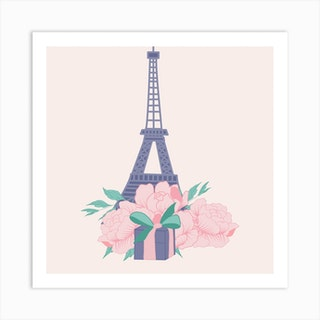 Eiffel Tour And Peonies Square Art Print