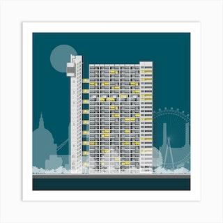 Trellick Tower Blue Art Print