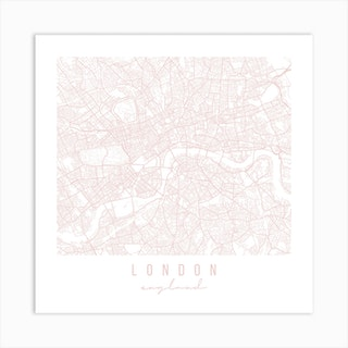 London England Light Pink Minimal Street Map Square Art Print