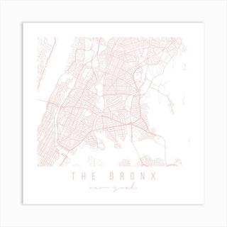 The Bronx New York Light Pink Minimal Street Map Square Art Print