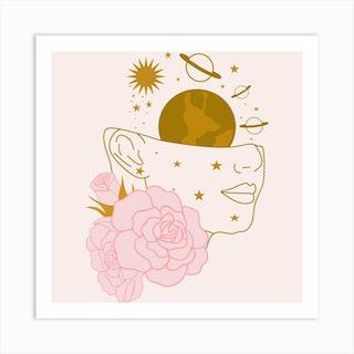 Dreamy Celestial Woman Square Art Print