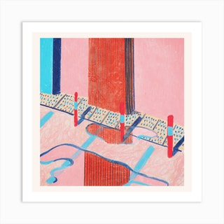 Pink Reflection Square Art Print