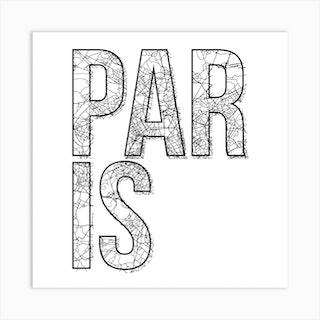 Paris Street Map Typography Square Art Print