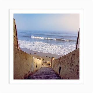 Beach Steps Square Art Print