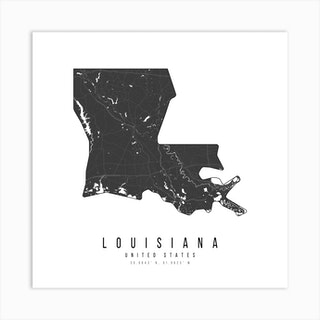 Louisiana Mono Black And White Modern Minimal Street Map Square Art Print