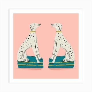 Staffordshire Dalmatians Square Art Print