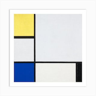 Composition With Yellow, Blue, Black And Light Blue,Piet Mondrian Square Art Print