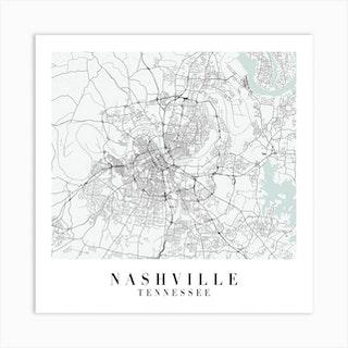 Nashville Tennessee Street Map Minimal Color Square Art Print