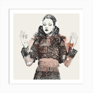 Dancing Girl Square Art Print