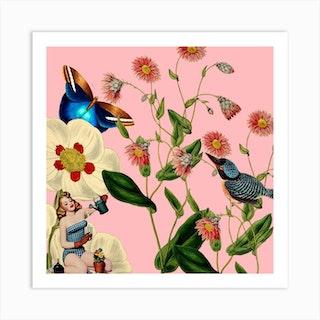 Big Flower Dream Pink Square Art Print