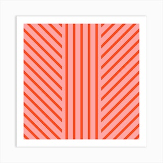 Lined Pink Square Art Print