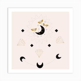 Diamonds And Moon Square Art Print